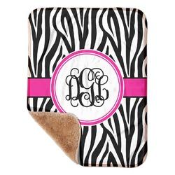 """Zebra Print Sherpa Baby Blanket 30"""" x 40"""" (Personalized)"""