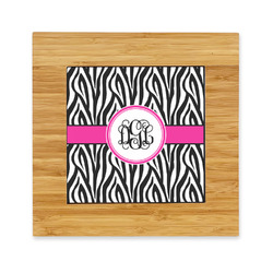Zebra Print Bamboo Trivet with Ceramic Tile Insert (Personalized)