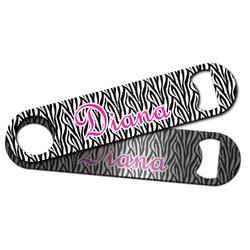 Zebra Print Bar Bottle Opener w/ Monogram