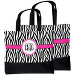 Zebra Print Beach Tote Bag (Personalized)