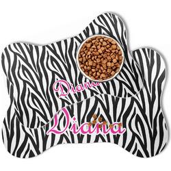 Zebra Print Bone Shaped Dog Food Mat (Personalized)
