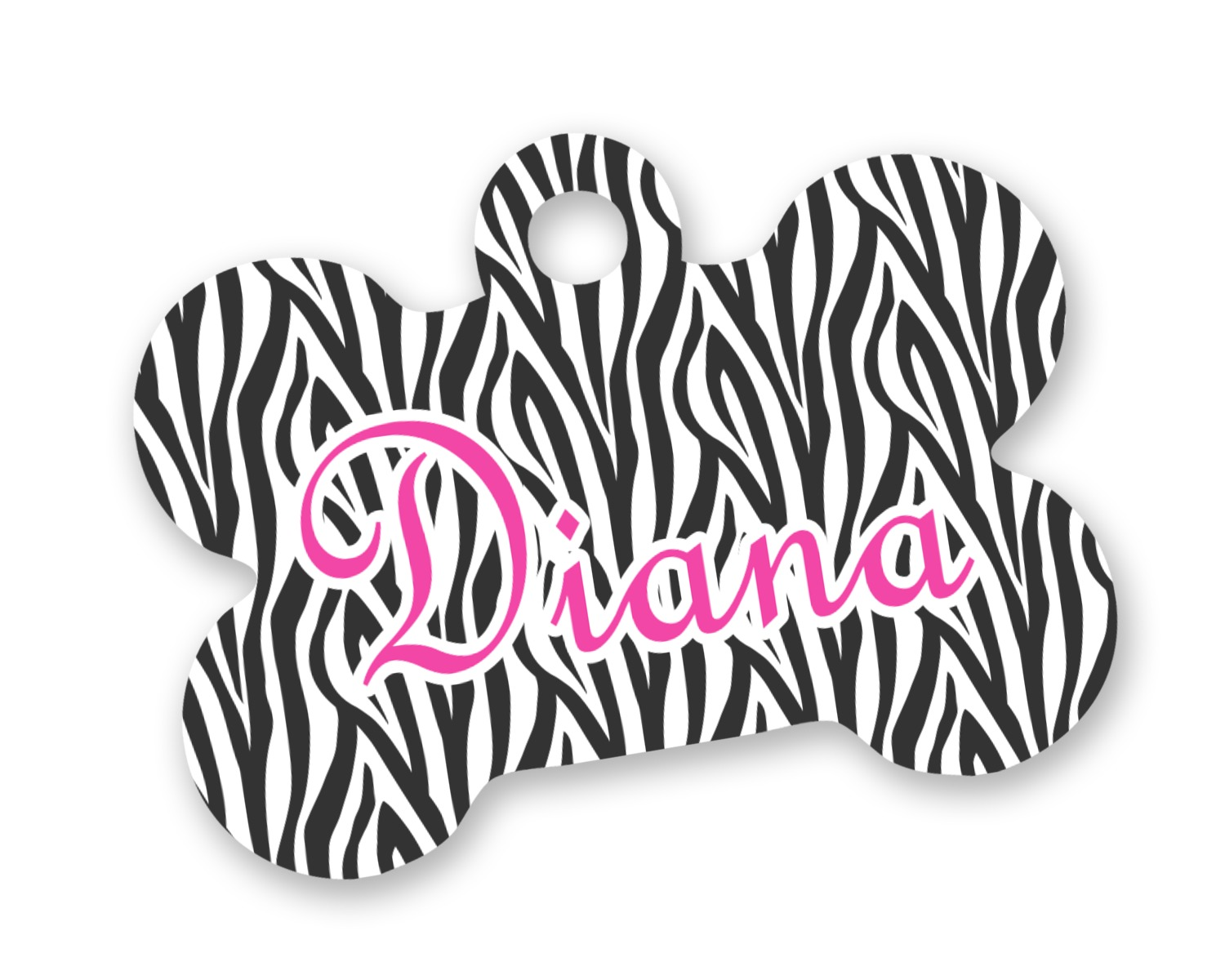 Zebra Print Bone Shaped Dog Tag Personalized