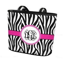 Zebra Print Bucket Tote w/ Genuine Leather Trim (Personalized)