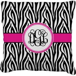 "Zebra Print Faux-Linen Throw Pillow 16"" (Personalized)"
