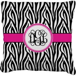 "Zebra Print Faux-Linen Throw Pillow 26"" (Personalized)"