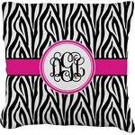 Zebra Print Burlap Throw Pillow (Personalized)