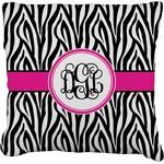 Zebra Print Faux-Linen Throw Pillow (Personalized)