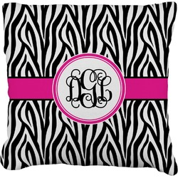 Zebra Print Burlap Pillow Case (Personalized)