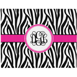 Zebra Print Woven Fabric Placemat - Twill w/ Monogram