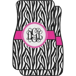 Zebra Print Car Floor Mats (Front Seat) (Personalized)