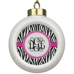 Zebra Print Ceramic Ball Ornament (Personalized)