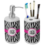 Zebra Print Bathroom Accessories Set (Ceramic) (Personalized)