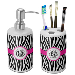 Zebra Print Ceramic Bathroom Accessories Set (Personalized)