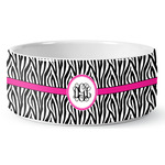 Zebra Print Ceramic Dog Bowl (Personalized)