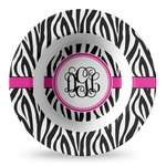 Zebra Print Plastic Bowl - Microwave Safe - Composite Polymer (Personalized)