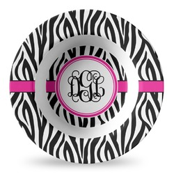 Zebra Print Plastic Bowl - Microwave Safe - Composite Polymer (Personalized)