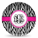 Zebra Print Microwave Safe Plastic Plate - Composite Polymer (Personalized)