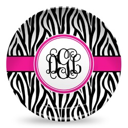 Zebra Print Microwave Safe Plastic Plate - Composite Polymer (Personalized)