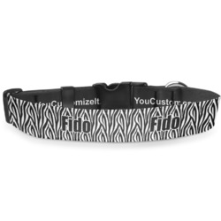 """Zebra Print Deluxe Dog Collar - Extra Large (16"""" to 27"""") (Personalized)"""