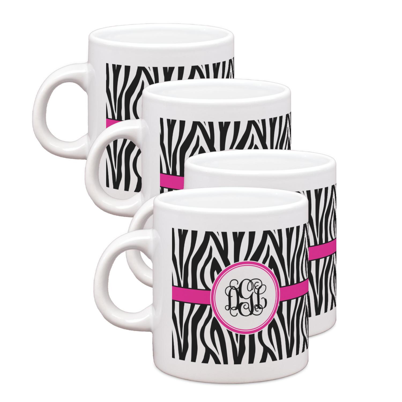 Zebra print espresso mugs set of 4 personalized for Zebra kitchen set
