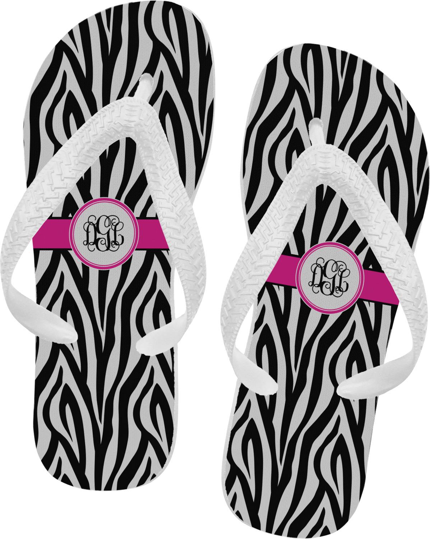 ddcefdbe1c3395 Zebra Print Flip Flops (Personalized) - YouCustomizeIt