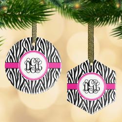 Zebra Print Flat Glass Ornament w/ Monogram