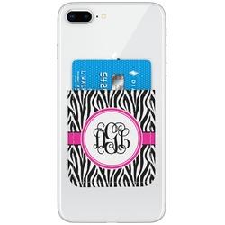Zebra Print Genuine Leather Adhesive Phone Wallet (Personalized)