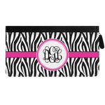 Zebra Print Genuine Leather Ladies Zippered Wallet (Personalized)