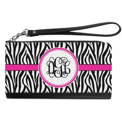 Zebra Print Genuine Leather Smartphone Wrist Wallet (Personalized)