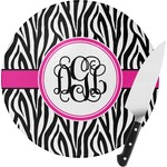 Zebra Print Round Glass Cutting Board (Personalized)