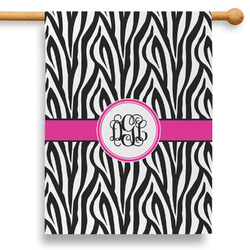 "Zebra Print 28"" House Flag (Personalized)"