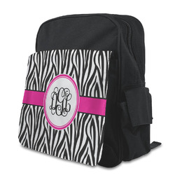Zebra Print Kid's Backpack with Customizable Flap (Personalized)