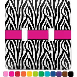 Zebra Print Light Switch Cover (2 Toggle Plate) (Personalized)