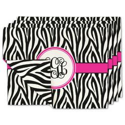 Zebra Print Linen Placemat w/ Monogram