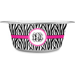 Zebra Print Stainless Steel Dog Bowl (Personalized)