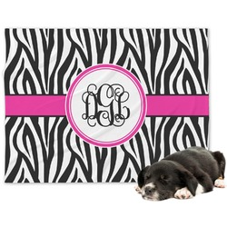 Zebra Print Minky Dog Blanket (Personalized)
