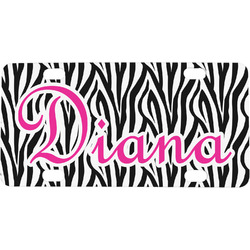 Zebra Print Mini / Bicycle License Plate (Personalized)