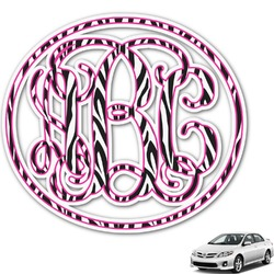 Zebra Print Monogram Car Decal (Personalized)