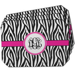 Zebra Print Dining Table Mat - Octagon w/ Monogram