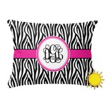 Zebra Print Outdoor Throw Pillow (Rectangular) (Personalized)