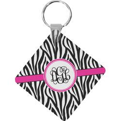 Zebra Print Diamond Plastic Keychain w/ Monogram