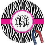 Zebra Print Round Fridge Magnet (Personalized)