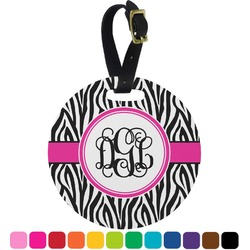 Zebra Print Round Luggage Tag (Personalized)