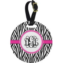 Zebra Print Round Luggage Tag (Personalized)
