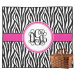 Zebra Print Outdoor Picnic Blanket (Personalized)