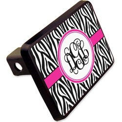 "Zebra Print Rectangular Trailer Hitch Cover - 2"" (Personalized)"