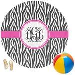 Zebra Print Round Beach Towel (Personalized)