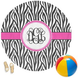 Zebra Print Round Beach Towel (Personalized)