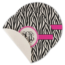 Zebra Print Round Linen Placemat (Personalized)