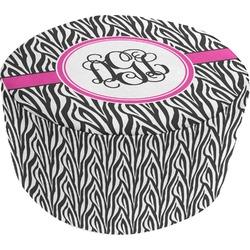 Zebra Print Round Pouf Ottoman (Personalized)
